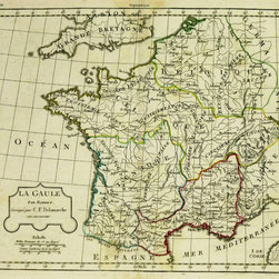 Consignment Antique Map France, 1806 - Engraving map of France at the time of its pre-Roman Gaul civilization. French copper line engraving with original hand-colored outlines by Vaugondy and Delamarche from 1806.