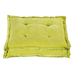 Velvet Chartreuse Floor Pillow - Suddenly floor pillows seem like a fabulous idea to me. Two on a play room or family room floor could add a new twist on seating with a pop of some unexpected color. Love.
