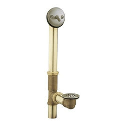 "Moen - Moen 90410BN Brushed Nickel  Tub Drain with Brass Tubing and Trip - Tub drain, brass tubing with trip lever drain assembly  1-1/2"" threaded shoe 20g brass tubing with brass nuts For 14"" and 16"" tubs Cast brass tee"