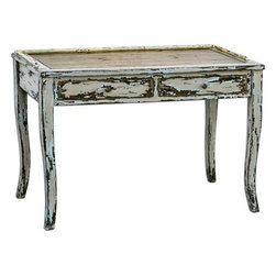 Uttermost - Uttermost Honovi 44 x 24 Rectangular Distressed Writing Desk - Artisan Crafted From Plantation-grown Mahogany Wood With Mahogany-stained Mindi Veneer Hand Painted And Distressed In Holland Gray Finish Layered With Hints Of Ivory And Blue. Bob and Belle Cooper founded The Uttermost Company in 1975 and it is still 100% owned by the Cooper family. The Uttermost mission is simple and timeless: to make great home accessories at reasonable prices. Inspired by award-winning designers custom finishes innovative product engineering and advanced packaging reinforcement Uttermost continues to deliver on this mission.  For over 30 years Uttermost has enjoyed steady growth with over 200 employees working in its Rocky Mount Virginia factories totaling 600000 square feet. It also has a factory in China and a state-of-the-art West Coast distribution center for increased capacity and faster shipping to West Coast retailers and customers.  Uttermost is proud to support many of the world's most prestigious home-furnishing customers with its products and services. Uttermost believes its success is largely based on its commitment to three key principles: proving superior customer service maximizing product value through great design and sharp pricing and treating its employees sales representatives and designers as partners in business. Features include Artisan Crafted From Plantation-Grown Mahogany Wood With Mahogany-Stained Mindi Veneer Hand Painted & Distressed In Holland Gray Finish Layered With Hints Of Ivory & Blue Uttermost's Accent Furniture Combines Premium Quality Materials With Unique High-Style Design Each Product Is Designed Manufactured & Packaged With Shipping In Mind Designer: Carolyn Kinder. Specifications Material: Mahogany Wood With Mdf Carb Phase 2.