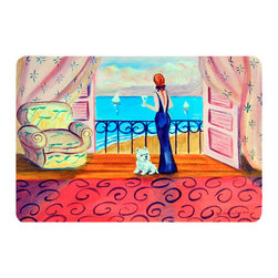Caroline's Treasures - Westie With Mom And A View Kitchen Or Bath Mat 20X30 - Kitchen or Bath COMFORT FLOOR MAT This mat is 20 inch by 30 inch.  Comfort Mat / Carpet / Rug that is Made and Printed in the USA. A foam cushion is attached to the bottom of the mat for comfort when standing. The mat has been permenantly dyed for moderate traffic. Durable and fade resistant. The back of the mat is rubber backed to keep the mat from slipping on a smooth floor. Use pressure and water from garden hose or power washer to clean the mat.  Vacuuming only with the hard wood floor setting, as to not pull up the knap of the felt.   Avoid soap or cleaner that produces suds when cleaning.  It will be difficult to get the suds out of the mat.