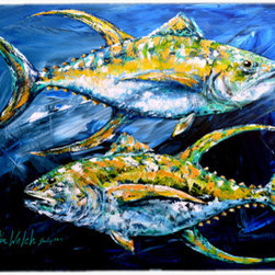 Caroline's Treasures - Fish - Tuna Tuna Blue Kitchen Or Bath Mat 24X36 - Kitchen or Bath COMFORT FLOOR MAT This mat is 24 inch by 36 inch. Comfort Mat / Carpet / Rug that is Made and Printed in the USA. A foam cushion is attached to the bottom of the mat for comfort when standing. The mat has been permenantly dyed for moderate traffic. Durable and fade resistant. The back of the mat is rubber backed to keep the mat from slipping on a smooth floor. Use pressure and water from garden hose or power washer to clean the mat. Vacuuming only with the hard wood floor setting, as to not pull up the knap of the felt. Avoid soap or cleaner that produces suds when cleaning. It will be difficult to get the suds out of the mat