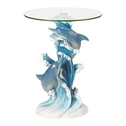 "Koehler Home Decor - Koehler Home Decor Dolphins Accent Table - Enhance your decor with a statuary table of incomparable artistry. Lovingly sculpted column base perfectly captures a dolphin pair's light-hearted joy and exuberant grace as they play amongst the foaming waves. Flowing lines and intricate details combine to create a stunning work of functional art. Polystone base, glass top. 19"" diameter x 24.12"" high.Enhance your decor with a statuary table of incomparable artistry. Polystone base, glass top. Dimension: 19"" diameter x 24.12"" high."