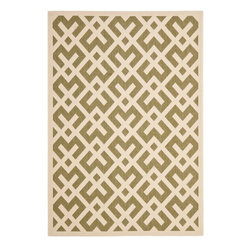 "Safavieh - Indoor/Outdoor Courtyard 4'x5'7"" Rectangle Green - Bone Area Rug - The Courtyard area rug Collection offers an affordable assortment of Indoor/Outdoor stylings. Courtyard features a blend of natural Green - Bone color. Machine Made of Polypropylene the Courtyard Collection is an intriguing compliment to any decor."