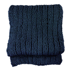 BrandWave - Solid Cable Knit Throw, Navy - Stay warm year-round with this heavyweight, 100% cotton throw. This collection is unique in that each piece is hand-knit, taking approximately four to five days. No machine in the world can replace the look of something hand knit.