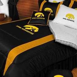 Sports Coverage - Iowa Hawkeyes NCAA Bedding - Sidelines Comforter and Sheet Set Combo - Queen - This is a great Iowa Hawkeyes NCAA Bedding Comforter and Sheet set combination! Buy this Microfiber Sheet set with the Comforter and save off our already discounted prices. Show your team spirit with this great looking officially licensed Comforter which comes in new design with sidelines. This comforter is made from 100% Polyester Jersey Mesh - just like what the players wear. The fill is 100% Polyester batting for warmth and comfort. Authentic team colors and logo screen printed in the center. Microfiber Sheet Set have an ultra-fine peach weave that is softer and more comfortable than cotton! This Micro Fiber Sheet Set includes one flat sheet, one fitted sheet and a pillow case. Its brushed silk-like embrace provides good insulation and warmth, yet is breathable. It is wrinkle-resistant, stain-resistant, washes beautifully, and dries quickly. The pillowcase only has a white-on-white print and the officially licensed team name and logo printed in team colors. Made from 92 gsm microfiber for extra stability and soothing texture. Sheet Sets are plain white in color with no team logo.    Includes:  -  Flat Sheet - Twin 66 x 96, Full 81 x 96, Queen 90 x 102.,    - Fitted Sheet - Twin 39 x 75, Full 54 x 75, Queen 60 X 80,    -  Pillow case Standard - 21 x 30,    - Comforter - Twin 66 x 86, Full/Queen 86 x 86,
