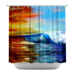 DiaNoche Designs - Shower Curtain Artistic - Maui Wave - DiaNoche Designs works with artists from around the world to bring unique, artistic products to decorate all aspects of your home.  Our designer Shower Curtains will be the talk of every guest to visit your bathroom!  Our Shower Curtains have Sewn reinforced holes for curtain rings, Shower Curtain Rings Not Included.  Dye Sublimation printing adheres the ink to the material for long life and durability. Machine Wash upon arrival for maximum softness. Made in USA.  Shower Curtain Rings Not Included.