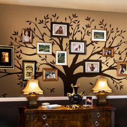"Simple Shapes - Family Tree Wall Decal, Chestnut Brown, Standard - 107""w X 90""h - Our most popular wall decal!  Share your family photos on your wall Family Tree Style!"