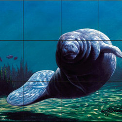 The Tile Mural Store (USA) - Tile Mural - Face To Face - Kitchen Backsplash Ideas - This beautiful artwork by Wilhelm Goebel has been digitally reproduced for tiles and depicts an up close look at a manatee.  Our mermaid and manatee tile murals are a great way to add something unique to your kitchen backsplash tile project. Make your tub and shower surround bathroom tile project exceptional with one of our decorative tile murals of mermaids or manatees. Decorative tiles with mermaids are beautiful and timeless and will never go out of style. Make a mermaid tile mural or a tile mural of manatees part of your bathroom wall tile and enjoy this tile mural every day in your newly renovated bathroom.