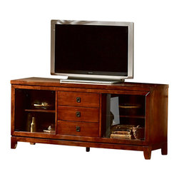 Steve Silver Furniture - Steve Silver Davenport TV Stand - The Davenport TV Stand offers a beautiful cherry finish with slate inlay and comes together as the perfect blend of beauty and functionality. There is plenty of room to store all your TV components with two glass doors and three drawers.