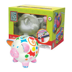 "Family Games America - Piggy Bank Porcelain DIY Paint Kit - Saving money is fun with this appealing little piggy, perfect for parties or rainy days with the kids! Everything included to create a work of art- simply apply the paint, pop them in the oven, let cool and then start collecting money! Whether you are having a ""Piggy Bank"" party or doing one for your own pleasure, our series or porcelain pottery pieces are a great way to personalize gifts for everyone.    * Set includes: 1 porcelain piggy bank, 6 paints, paint brush  * Dimensions: 4.5"" x 4.5""  * Instructions: brush on the paint and allow to dry before adding another color"