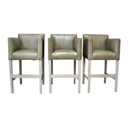 "Pre-owned Verellen Thibaut Bar Stools - Set of 3 - A set of 3 bar stools in Harness-Putty leather and nailhead details. The stools are bar height with high sides. They are very comfortable and inviting! The stools have some scratches in the leather, but they are overall fabulous!     Seat height 30"".    Have you ever fallen head-over-heels in love with a piece of upholstery? That's the sort of cupid's-arrow experience Verellen offers. Literally (so comfortable) and figuratively (so sexy). Verellen concepts, designs and creates objects of desire for the home. It's our business and our passion.    The Verellen story started in Belgium. Antwerp specifically. An old-world city famous for modern design. In a country where the old and the new – modern and traditional – are in natural harmony. And respect for Planet Earth is part of the collective unconscious."