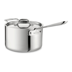 All-Clad - All-Clad Stainless Steel 4 Qt. Sauce Pan w/Lid - Make sauces, cook in liquids, and reheat food with the All-Clad 1-Quart Saucepan. The smaller surface area and tall, straight sides allow it to hold heat, while the lid limits evaporation. This pan is constructed with bonded stainless steel for exceptional heating, even in induction cooking. Its stick-resistant, 18/10 stainless steel interior and long, comfortable handle will make this an essential tool for your kitchen. For Sauces, Cooking in Liquids, and Reheating This classic saucepan's smaller surface area and high, straight sides allow it to retain heat efficiently. Its shape is ideal for a range of recipes and meals, such as sauces, cooking in liquids, and reheating food. This 4-quart pan has a lid for controlling evaporation and a long, cast stainless steel handle that stays cool while you cook. Premium Stainless Steel Construction Classic design, high performance, and lifetime durability unite in the Stainless Collection, All-Clad's most popular line of cookware. Products in the collection feature an interior core of aluminum for even heating and a polished 18/10 stainless steel exterior and cooking surface for fine culinary performance. All-Clad stainless steel cookware features an interior starburst finish for excellent stick resistance. The bottom of each pan is engraved with a convenient capacity marking.