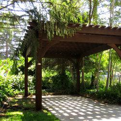Over Sized Timber Frame Pergola Arbor Gazebo Kits - Oversized timber frame pergola kit over patio.
