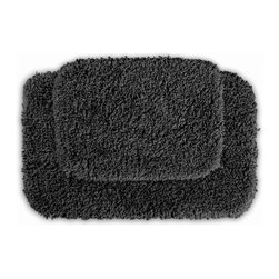 None - Serenity Dark Grey 2-piece Bath Rug Set - Luxuriate in the deep pile of the Serenity bath and spa collection. These two grey rugs are created from durable,machine-washable nylon with non-skid latex backing for safety.
