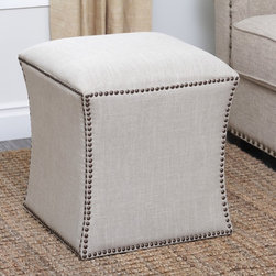 Abbyson Living - Abbyson Living Kimberly Nailhead Trim Ottoman - Give your living room or den a useful accent piece with the addition of this brass nailhead ottoman. The cream-colored ottoman fits in well with a contemporary decor,adding to the room's appearance while providing additional seating.