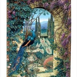 `The Secret Garden` Woven Tapestry Wall Hanging 56 In. X 80 In. - This woven tapestry wall hanging measures 56 inches wide, 80 inches long, and depicts the entrance to a hidden garden, through an archway covered in wisteria. A peacock is perched on an urn on the left side of the archway. It makes a great gift. Note: this tapestry does not come with a hanger bar.