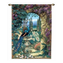 The Secret Garden' Woven Tapestry Wall Hanging 56 Inch x 80 Inch - This woven tapestry wall hanging measures 56 inches wide, 80 inches long, and depicts the entrance to a hidden garden, through an archway covered in wisteria. A peacock is perched on an urn on the left side of the archway. It makes a great gift. Note: this tapestry does not come with a hanger bar.