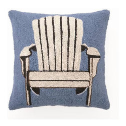 Peking Handicraft - Adirondack Chair Hooked Pillow - This beautiful ���Americana collection� pillow will bring an easy and comfortable vibe to any home, cabin or beach house ��� with a pop of color! The front of this charming, Phi-designed pillow is made from hand-hooked, 100% wool, while the back is fashioned from cotton-velveteen fabric. One pull of a sturdy zipper reveals a soft, poly-fill insert. These make lovely gifts! Choose from two colors: Red and Blue.
