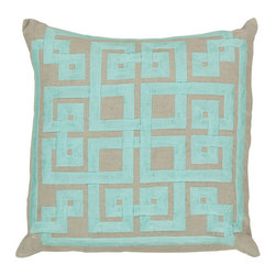 Surya Rugs - Robin's Egg Blue and Oatmeal Polyester Filled 18 x 18  Pillow - - This trendy design will bring the perfect amount of style to your home. This pillow has a polyester fill and a zipper closure. Made in India with one hundred percent Linen and cotton detail this pillow is durable and priced right  - Cleaning/Care: Blot. Dry Clean  - Filled Material: Polyester Filler Surya Rugs - LD010-1818P