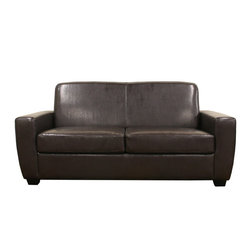 Wholesale Interiors - Broome Dark Brown Modern Sofa Sleeper - The handsome, classic appearance of the Ballard Convertible Sofa Bed is a prize for any living space but when paired with its versatile features, it becomes what will be your new favorite place to relax. Ideal for small spaces and apartments, the sofa comfortably seats 2-3 individuals and is made with a hardwood frame, firm foam cushioning, and dark espresso brown faux leather. The sofa seats conceal a fold-out bed complete with mattress for quick, convenient accommodations for unexpected guests. The two seat cushions are completely removable and feature zippered covers that can also be removed (backrest cushions are not removable). The contemporary sleeper sofa is finished with black wood legs and non-marking feet and is fully assembled. Overall Dimensions: 70.75W x 34L x 40H.
