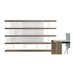 """Reflex - Tango Library - Modular bookcase with sliding doors in transparent, frosted, or lacquered glass, standard colors available in different sizes. Extra clear framed glass sides 10 mm thick. Matt lacquered wooden shelves, available also in matte or shiny Ebony or in Canaletto walnut. New version with wooden """"Box"""" pictured with TV Stand, unit with 1 folding door and optional TV stand in dark grey glass with """"Reflectless"""" technology. Available also in the version with electrical engine with remote control. New version with sliding doors in lacquered glass that includes a TV Unit. - For more info, please call IQMatics 847-885-3600"""