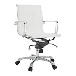 "Modway - Slider Mid Back Office Chair in White - The Slider All-mesh Office Chair is a clean lined stylish choice. Engineered to be comfortable in all weathers, this chair is a great choice for those who want the benefits of mesh. Includes: One - Slider Mesh Office Chair; Breathable Mesh Fabric; Rolling Base; Adjustable Height; Locking Tilt; Dimensions: 25""L x 25""W x 35 - 37.5""H; Seat: 18.5""L x 20""W x 17 - 19.5""H; Seat Back Height: 18""H; Armrest Height: 8.5""H"