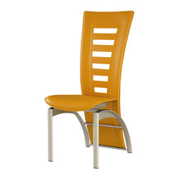 Global Furniture - Global D290NDC-Yellow Dining Chair in Yellow - This modern dining chair is finished in a yellow leatherette. The silver finish legs and trim compliment the cut out designs of the chair back. Will compliment almost any contemporary dining set.