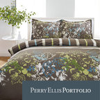 Perry Ellis - Perry Ellis Sweet Bay 3-piece Mini Duvet Cover Set - Dress your bedroom in the latest designer trend with this Perry Ellis printed duvet cover in sophisticated shades of brown, lime green, turquoise and white. 100- percent cotton and machine washable, this contemporary floral reverses to a bold stripe.