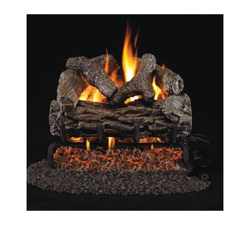 Real Fyre Golden Oak Vented Gas Log Set - Greatly increase the realism and comfort of your indoor fireplace with a Real Fyre Golden Oak Vented Gas Log Set. This hand-painted refractory ceramic log set is modeled from real wood samples, with realism, texture, and nuance straight from nature. They burn efficiently while protecting natural resources and reducing pollution, providing real radiant heat for your home. Each is supported by steel rods in the center, and artfully placed about a steel burner and powder-coated grate. Choose 18 or 24 inches to fit your standard direct vent fireplace Choose propane or natural gas power source Silica sand and platinum embers included with every model Optional pilot kit and remote control Manufacturer's lifetime warranty included Heating Output Propane 18-inch: 45,000 BTU Propane 24-inch: 65,000 BTU Natural gas 18-inch: 70,000 BTU Natural gas 24-inch: 90,000 BTU Note: It is recommended that you use a professional installer to ensure the safety of the exhaust system. A licensed contractor should be contacted for installation of all products involving gas lines. About Real FyreReal Fyre understands more about the amazing things that happen when flame and good food meet. For the last 70 years, they've set out to create the singularly best way to cook food outdoors, using the highest-quality materials, innovative design, and an absolutely relentless pursuit of perfection. With a complete line of luxury-grade grills, burners, accessories, and built-in grill island components, Real Fyre is ready to turn your home into the world's best outdoor kitchen.