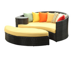 LexMod - Taiji Outdoor Patio Daybed in Brown Orange - Harmonize inverse elements with this radically pleasing daybed set. Seven plush throw pillows adorn Taiji's thick all weather orange cushions allowing for the splendorous blending of mediating elements. Find the key to attainment as you bask in a charged