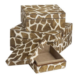 Lazy Susan Pony Giraffe Print Boxes - All those stray office papers can become such an eyesore. Tidy up in style with these gorgeous giraffe print boxes!