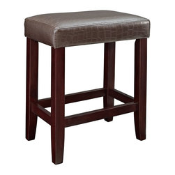 Powell - Powell Brown Croc Faux Leather Counter Stools (Pack of 2) X-588-853 - Add plush seating, simple design and sleek style to a kitchen counter or high top table with the Brown Croc Counter Stool. Straight lined, espresso finished legs are supported with sturdy braces providing a footrest for comfort. The plush top is upholstered in a Croc style faux leather PU. Perfect for any style decor.