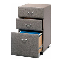Bush Business - Assembled Cabinet w Three Drawers & Pewter - The three drawer filing cabinet in Pewter will keep your important documents and office supplies mobile, secure, and easily accessible.  It fits under desks and can be rolled out for added ease of use, workspace, or leg room.  When you need to optimize floor space, castered file cabinets are a smart solution.  They'll fit under desks or move from office to office as needed.  They also arrive fully assembled and feature a pewter finish with three drawers for supplies and hanging folders. * Rolls under any Series C desk shell. File drawer holds letter- or legal-size files. Fully finished drawer interiors. Fully assembled case goods. File drawer extends on full extension, ball-bearing slides. One lock secures bottom two drawers. 15.512 in. W x 20.276 in. D x 28.150 in. H
