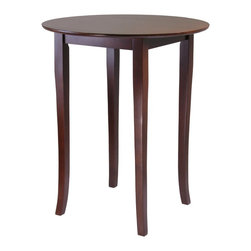 """Winsome Wood - Winsome Wood Fiona Pub Table with Antique Walnut Finish X-43849 - Refined details and casual elegance best describe this pub-style table with slightly flared legs. With a deep, rich walnut finish, the round table is an ideal size for a cozy dinner, working on your laptop or a game of cards. The table will accommodate up to four chairs.  Table assembled size is 33.66""""W x 33.66""""D x 38.98""""H.  Distance between legs is 16.14"""".  Made from solid wood in warm walnut finish.  Simple Assembly Required."""