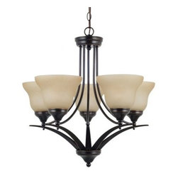Sea Gull Lighting Brockton Fluorescent 5-Light Chandelier - 24.75W in. Burnt Sie - You may not believe it, but the Sea Gull Lighting Brockton Fluorescent 5-Light Chandelier - 24.75W in. Burnt Sienna is going to be as nice to your wallet as it is to the atmosphere of your home. This appealing and modern chandelier starts with a metal body that sports clean, angular lines and an earthy brown finish. Five shades of amber scavo glass each conceal a 13-watt GU24 base bulb that radiate a warm, efficient light. 36 inches of hanging chain with 120 inches of lead wire let you choose the best height and location for this ENERGY STAR-rated fixture.