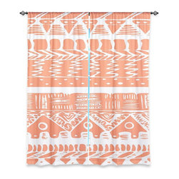 "DiaNoche Designs - Window Curtains Unlined by Organic Saturation - Boho Coral Aztec - DiaNoche Designs works with artists from around the world to print their stunning works to many unique home decor items.  Purchasing window curtains just got easier and better! Create a designer look to any of your living spaces with our decorative and unique ""Unlined Window Curtains."" Perfect for the living room, dining room or bedroom, these artistic curtains are an easy and inexpensive way to add color and style when decorating your home.  The art is printed to a polyester fabric that softly filters outside light and creates a privacy barrier.  Watch the art brighten in the sunlight!  Each package includes two easy-to-hang, 3 inch diameter pole-pocket curtain panels.  The width listed is the total measurement of the two panels.  Curtain rod sold separately. Easy care, machine wash cold, tumble dry low, iron low if needed.  Printed in the USA."
