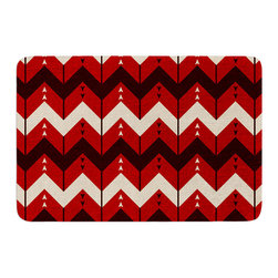 """KESS InHouse - Nick Atkinson """"Chevron Dance Red"""" Memory Foam Bath Mat (24"""" x 36"""") - These super absorbent bath mats will add comfort and style to your bathroom. These memory foam mats will feel like you are in a spa every time you step out of the shower. Available in two sizes, 17"""" x 24"""" and 24"""" x 36"""", with a .5"""" thickness and non skid backing, these will fit every style of bathroom. Add comfort like never before in front of your vanity, sink, bathtub, shower or even laundry room. Machine wash cold, gentle cycle, tumble dry low or lay flat to dry. Printed on single side."""