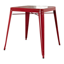 Crosley Furniture - Crosley Furniture Amelia Metal Cafe Table in Red - Crosley Furniture - Dining Tables - CF220130RE - Originally made famous in the quaint bistros of France these midcentury replicas of original cafe tables will offer a dose of nostalgia combined with careful consideration for your wallet.  This inspired revival evokes a sense of a true vintage find.