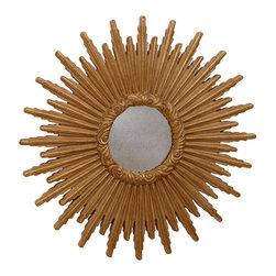 """ETHAN ALLEN :: Glamorous Rooms - Ethan Allen 24"""" Gold Starburst Mirror."""