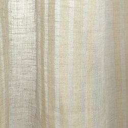 Linen Sheer Vertical Stripe Raffia Drapery in Oyster - Linen Sheer Vertical Stripe Raffia Drapery Fabric in Oyster White. Striped fabric ideal for drapes, curtains, and other window treatments, or bed canopy.