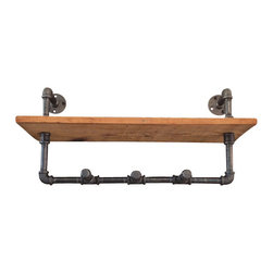 Industrial Lightworks - Industrial Shelf with Coat Rack or Towel Hooks - Industrial Shelving