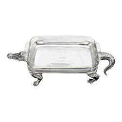 Arthur Court - Alligator 3-quart Casserole with Pyrex - Serve up your favorite dish, reptile style! This aluminum alligator comes with a three-quart Pyrex glass casserole to make your next dinner party a fierce success.