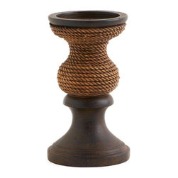 Wooden Pillar Candle Holder w/ Rope Accent - Wooden Pillar Candle Holder w/ Rope Accent