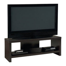 "Ameriwood - Ameriwood 60"" Hollow Core TV Stand in Black Forest - Ameriwood - TV Stands - 1193012YCOM - Give your entertainment system a clean minimalist look with this Transitional TV stand from Ameriwood. The Ameriwood Hollow Core TV Stand features a sleek silhouette of straight lines for a simple modern profile. Made from a mix of Hollow Core and Particle Board and finished in Ameriwood's Black Forest finish the entertainment console can be coordinated with virtually any style decor from classic to ultra-Transitional. The stand is built to hold flat-panel TVs up to 60""With a maximum weight of 200 pounds on the top shelf. A lower open shelf supports up to 100 pounds and offers additional space for your cable / satellite box DVD player audio receiver gaming systems or other components. The TV stand is easy to assemble with household tools. Made in USA."