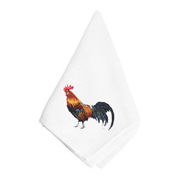 Caroline's Treasures - Rooster Napkin - Dinner Napkin - 100% polyester - wash, dry and lay flat.  No ironing needed.  20 inch by 20 inch