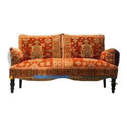 Antique Napoleon III Settee - Antique Napoleon III Settee with Vintage Upholstery. French, Circa 1890.