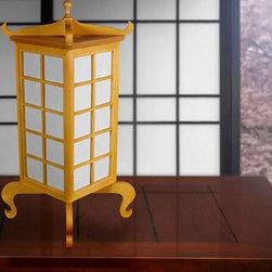 Oriental Furniture Lifestyle - Kobe Table Lamp, Japanese Table, Shoji Sliding Door Kit and Cherry Blossom Room Divider.