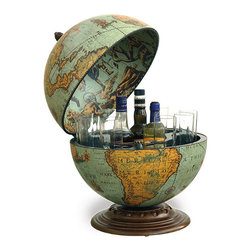 Fine Vintage Desk Globe Bar - Here's a win-win: You get to have your bar close by and appear worldly at the same time. Small enough to sit on your tabletop, desk or sideboard yet large enough to stock a few bottles and glasses, it's like a grown-up version of the bar fridge. And you can brush up on your geography too.