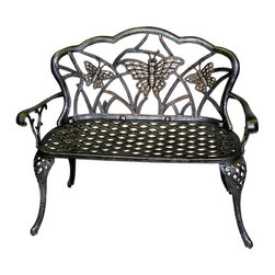 Oakland Living - Loveseat Bench with Butterfly Motif (Antique - Finish: Antique BronzeAll weather rust-free cast aluminum construction. High grade baked on polyester powder coated finish. Electrostatic application of powder coating insures a smooth and even finish. Brass and stainless steel hardware. Quick and easy to read assembly instructions included. Pictured in Antique bronze. 17 in. D x 44 in. W x 36 in. H